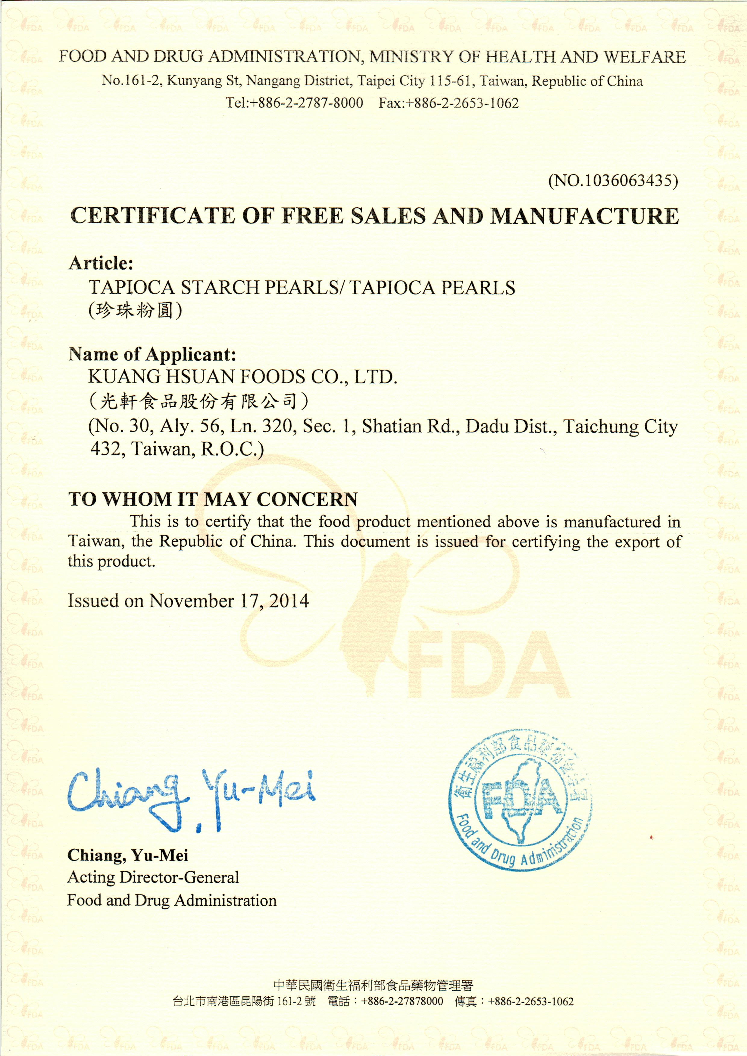 Sample certificate of free sale in china image collections sample certificate of free sale china images certificate design fda certificate free sale example images certificate 1betcityfo Gallery